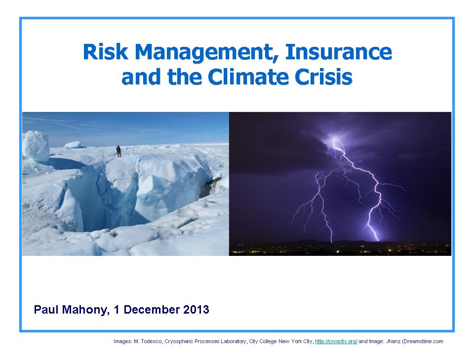 Risk Management, Insurance and the Climate Crisis